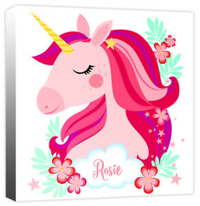 Personalised Pretty Unicorn Head with Girls Name Canvas Art Print Picture