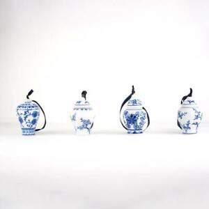 Bandwagon Miniature Porcelain Ginger Jar Ornaments Blue and White Set of 4