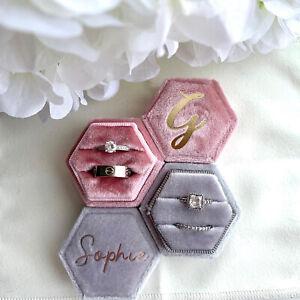 Personalised Velvet Ring Box Ring Bearer Engagemet Wedding Ring