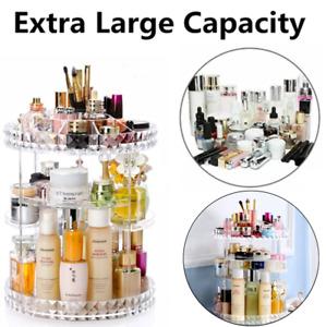 Large 360 Rotating Makeup Organiser Cosmetic Storage Box Perfume Display Stand