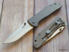 CRKT DRIFTER STAINLESS STEEL HANDLE FOLDING KNIFE WITH POCKET CLIP