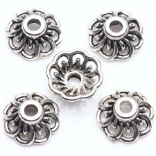 25Pcs Tibet Silver Plated Flower Spacer Bead Caps Jewelry Findings DIY 9x4mm