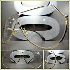 Mens or Women VINTAGE RETRO SHIELD Style Clear Lens EYE GLASSES Gold Metal Frame