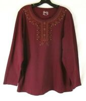 New Denim & Co. Embroidered Shirt Wine Red Sz 1X Long Sleeve Pull On Women XM24