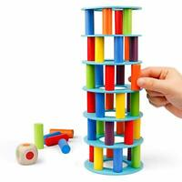 Coogam Wooden Leaning Tower Game - Tumbling Block Stacking Tower