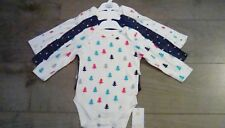 M&S Baby Boy girls 3 Pack  Long sleeve Christmas body suits age 6-9 months BNWT