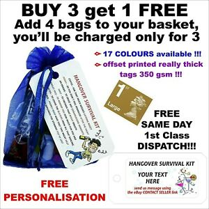 Personalised Hangover Survival Kit pre filled bags, Birthday Party 18th, 9 items