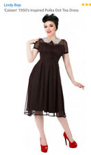 Lindy Bop Black With Brown Polka Dots Sheer 1940 Style Tea Dress Size 14 12 BNWT