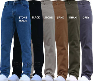 MENS STRAIGHT LEG JEANS Heavy Work Denim Pants Smart All Sizes and Colours