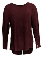 Lisa Rinna Collection Women's Sweater Sz S Hacci Knit Curved Hem Purple A341720