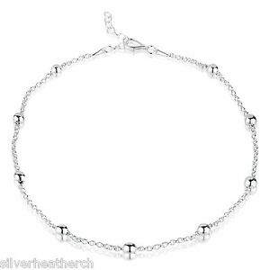 925 Sterling Silver Ankle Chain with Baubles - Variable Length 24-26.5cm