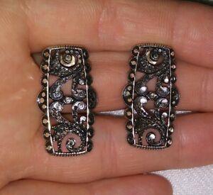 Filigree Sterling Silver Artisan Paisley Floral Print Post Stud Earrings