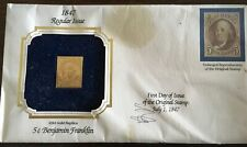 22kt Gold Replica US Stamp 1847 5 cent Benjamin Franklin