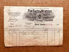 1893 Billhead FOX, FULTZ, & WEBSTER of 52 Park Place, NYC, druggists, &co. &co.