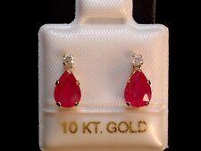 Rubin Ohrstecker - Tropfen mit Diamant Krone - 10 Kt. Gold - 417 - Ohrringe EDEL