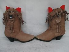 Santa Fe Boot Co Brown Leather Studded Fringe Cowboy Boot Size 11 M Style SFW502