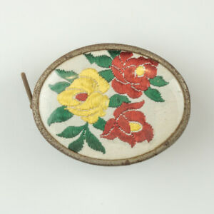 Vintage Flower Embroidery Decorated Sewing Tape Measure - Art Deco!