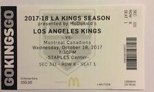 LOS ANGELES KINGS VS MONTREAL CANADIENS OCTOBER 18, 2017 TICKET STUB