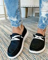 Womens Slip On Denim Canvas Loafers Pumps Casual Trainers Walk Sneakers Shoes