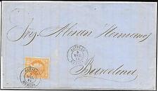 España. Carta circulada con sello de 4 ctos (nº 52) con matasello fecha