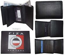 Men's Wallet Trifold wallet 9 Cards Billold FIZA NY Black Leather wallet in Box
