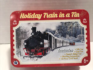 Holiday Train in a Tin Engine, 3 Train Cars, 12 Track Pcs NEW Westminister 5758