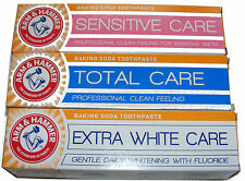 3 x ARM AND HAMMER TOOTHPASTE - SENSITIVE CARE, TOTAL CARE, & EXTRA WHITE