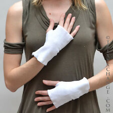 White Cotton Fingerless Gloves Cut Out Thumbs Smoking Texting Cycling Warm 1097