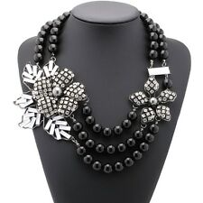 ZARA GORGEOUS 3 ROWS BLACK PEARLS FLOWERS STATEMENT NECKLACE - NEW