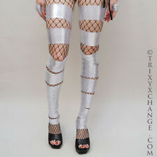 Silver Shiny Cut Out Leg Warmers Spandex Leggings Cover Anime Costume Sock 1018