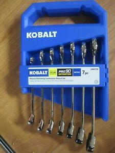 Kobalt 7 Pc Ratcheting/Reversible Combination METRIC Wrench Set #2884739 Pro 90