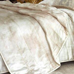 Michael Aram Textured FULL QUEEN Quilt Silk Cotton BLUSH BEDDING NEW