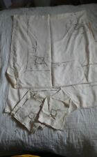 """VINTAGE CUT OUT EMBROI DERY 66"""" x 80"""" OFF WHITE WITH 8 MATCHING NAPKINS"""