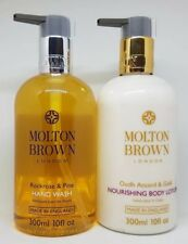 Molton Brown Rockrose & Pine Hand Wash, Oudh Accord & Gold Body Lotion 300ml