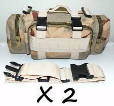 2 X Molle Desert Camo Survival Camping SWAT Military Bug Out Bag Pack Pouch NEW