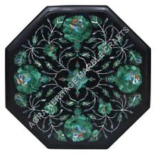 """12"""" Marble Console End Coffee Table Top Malachite Inlay Living Room Decor E479"""