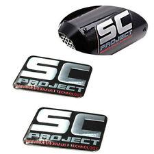2Pcs Racing SC Aluminium Motorcycle Exhaust Pipe Scooter Muffler Sticker Decal