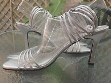 PIERRE FONTAINE Sexy Silver Strappy Heels - Soft Faux Leather - SIZE 8.5  EUC