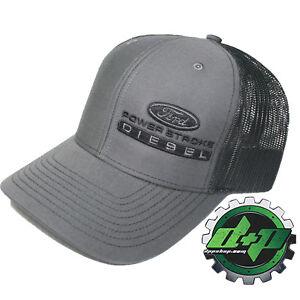 Ford Powerstroke richardson 112 hat truck Charcoal GRAY black mesh snap back