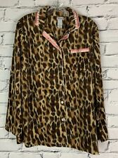 Great Northwest Women's Pajama Top Size Medium Leopard Print Soft Button Down