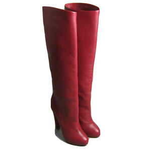 New Christian Louboutin Vicky Botta Red Leather Boots 140 Size 36.5