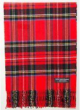 100% Cashmere Scarf Red Black Check Tartan Plaid Warm SCOTLAND Wool Women R7