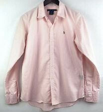Ralph Lauren Pink & White Striped Slim Fit Long Sleeve Button Up Women's Size 12