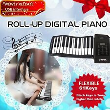 61 Keys Roll Up Electronic Piano MIDI Out Silicone Keyboard Drums USB Interface