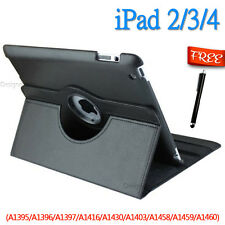 Leather 360 Rotating Smart Stand Case Cover For APPLE iPad 2 3 4 BLACK