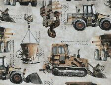 FAT QUARTER COTTON FABRIC REALISTIC CONSTRUCTION TRUCKS  WORK ZONE MACHINERY  FQ