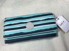 New Kipling Teddi Spectacle Stripe Teal Blue Wallet Coin Credit Card Organizer