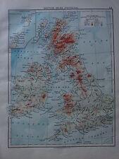 1900 VICTORIAN MAP ~ BRITISH ISLES LAND HEIGHTS HIGHLANDS IRELAND WALES