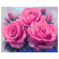 Paint By Number Kit DIY Oil Painting Cloth Digital Home Decor, 3 pink roses K7R6