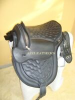 Designer All purpose Treeless Cow Softy leather saddle Black with White stitchng